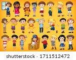 large set of children doing... | Shutterstock .eps vector #1711512472