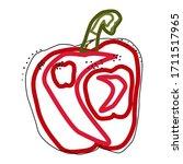 flat red pepper bell isolated... | Shutterstock .eps vector #1711517965