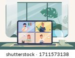 employees are working from home ... | Shutterstock .eps vector #1711573138