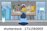 the girl in the office is... | Shutterstock .eps vector #1711583005