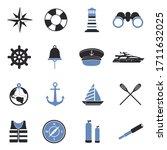 Nautical Icons. Two Tone Flat...