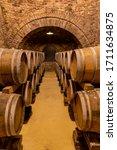 Wine Cellar With Wooden Barrels ...