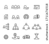people and office icons set... | Shutterstock .eps vector #1711676518