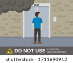 fire safety activity. young man ... | Shutterstock .eps vector #1711690912