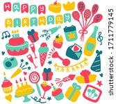 birthdat party icon set. hand... | Shutterstock . vector #1711779145