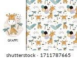 happy cute cartoon giraffe... | Shutterstock .eps vector #1711787665