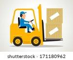 simple cartoon of a man driving ... | Shutterstock .eps vector #171180962