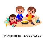 children watching tv and eating ... | Shutterstock .eps vector #1711871518
