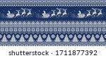 santa claus rides reindeer... | Shutterstock .eps vector #1711877392
