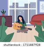 brunette woman sitting in lotus ...   Shutterstock .eps vector #1711887928