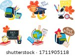 compositions of school supplies ... | Shutterstock .eps vector #1711905118
