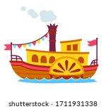 bright cartoon retro steamboat...   Shutterstock .eps vector #1711931338