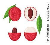 lychee fruit icons set in flat... | Shutterstock .eps vector #1711937572