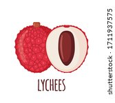 lychee fruit icon in flat style ... | Shutterstock .eps vector #1711937575