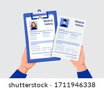 medical history. hands of... | Shutterstock .eps vector #1711946338