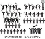 groups of people holding party... | Shutterstock .eps vector #171195992