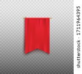 Realistic Red Pennant Flag...