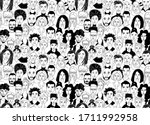 decorative diverse women's men... | Shutterstock .eps vector #1711992958
