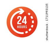 24 Hours Clock Sign Icon In...