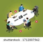 maintain social distance in... | Shutterstock .eps vector #1712007562
