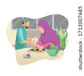 muslim husbands help their... | Shutterstock .eps vector #1712007685