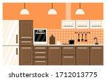 kitchen interior in neoclassic... | Shutterstock .eps vector #1712013775