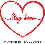 stay home text inside the heart   Shutterstock .eps vector #1712064055