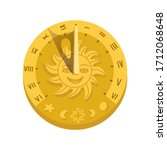 Top View Of Sundial Icon With...