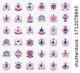 de lis and crowns vintage... | Shutterstock .eps vector #1712078845