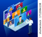 isometric video conference.... | Shutterstock .eps vector #1712086138