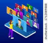 isometric video conference.... | Shutterstock .eps vector #1712089888