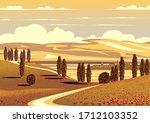 summer rural landscape with... | Shutterstock .eps vector #1712103352