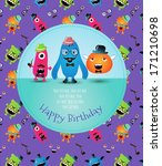 hipster monster happy birthday... | Shutterstock .eps vector #171210698