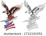 american eagle in flight with...   Shutterstock .eps vector #1712131552