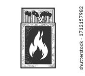 matchbox with matches sketch... | Shutterstock .eps vector #1712157982