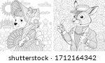 two coloring pages with animals ... | Shutterstock .eps vector #1712164342