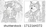 two coloring pages with animals ... | Shutterstock .eps vector #1712164372