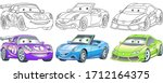 cute cartoon cars. coloring and ... | Shutterstock .eps vector #1712164375