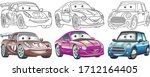cute cartoon cars. coloring and ... | Shutterstock .eps vector #1712164405