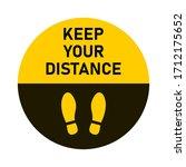 keep your distance round floor...   Shutterstock .eps vector #1712175652