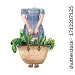 Woman With Big Eco Bag Full Of...