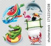 summer characters vector... | Shutterstock .eps vector #1712214238