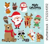 cute forest animals and santa... | Shutterstock .eps vector #1712214352