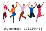 happy business workers jumping... | Shutterstock .eps vector #1712244415