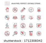 simple set of coronavirus... | Shutterstock .eps vector #1712308342