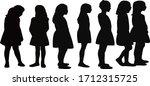 girls waiting in line ... | Shutterstock .eps vector #1712315725