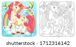unicorn coloring pages. cartoon ... | Shutterstock .eps vector #1712316142