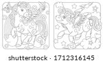 unicorn coloring pages. cartoon ... | Shutterstock .eps vector #1712316145