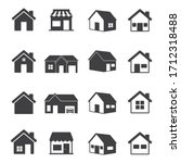 house and store icon set. home... | Shutterstock .eps vector #1712318488