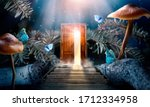 Small photo of Fantasy enchanted fairy tale forest with magical opening secret wooden door and stairs leading to mystical shine light outside the gate, mushrooms, rays and flying fairytale magic butterflies in woods